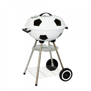 Football-Shape-Charcoal-Kettle-BBQ-Grill-for